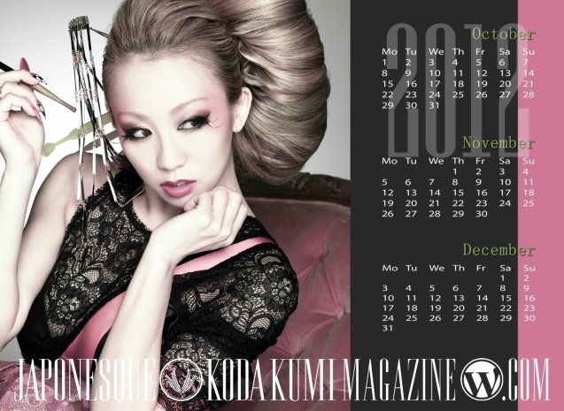 JAPONESQUE, koda kumi Calendar 2012, koda kumi wallpaper,